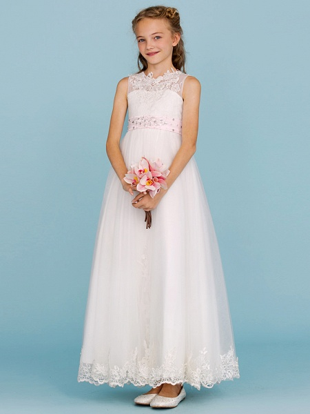 Princess / A-Line Crew Neck Ankle Length Lace Over Tulle Junior Bridesmaid Dress With Sash / Ribbon / Beading / Appliques / Wedding Party / Open Back_4