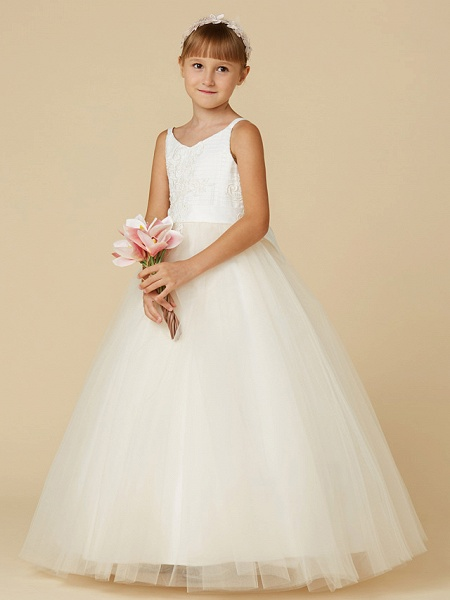Princess Floor Length Wedding / First Communion / Pageant Flower Girl Dresses - Lace / Tulle Sleeveless Spaghetti Strap With Bow(S) / Appliques_3