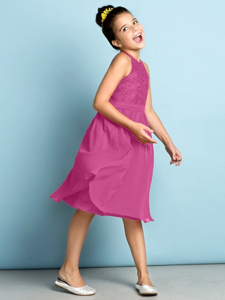 A-Line Jewel Neck Knee Length Chiffon / Lace Junior Bridesmaid Dress With Lace / Natural / Mini Me_26