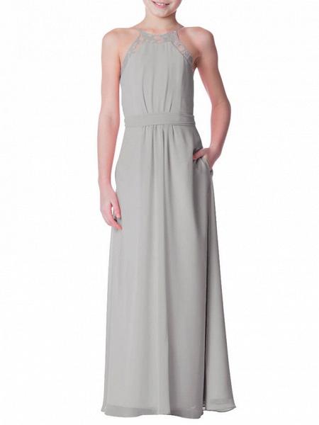 A-Line Crew Neck Floor Length Chiffon Junior Bridesmaid Dress With Bandage_1