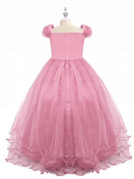 Princess Maxi Birthday / Pageant Flower Girl Dresses - Chiffon / Tulle Short Sleeve Boat Neck With Beading / Appliques / Paillette_6