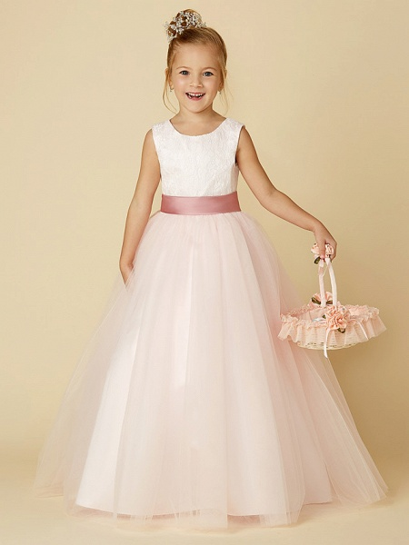 Princess Floor Length Wedding / Birthday / Pageant Flower Girl Dresses - Satin / Tulle Sleeveless Jewel Neck With Lace / Appliques_1