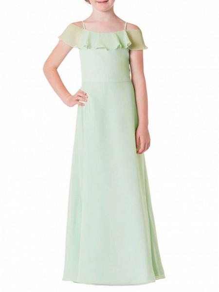 A-Line Spaghetti Strap Floor Length Chiffon Junior Bridesmaid Dress With Ruffles_1