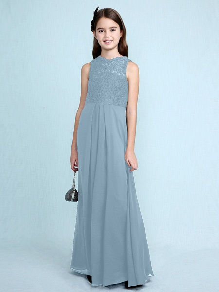 Sheath / Column Scoop Neck Floor Length Chiffon / Lace Junior Bridesmaid Dress With Lace / Natural_34