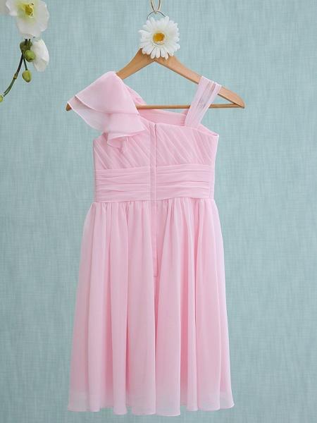 Sheath / Column Straps Knee Length Chiffon Junior Bridesmaid Dress With Ruffles / Side Draping / Natural_2