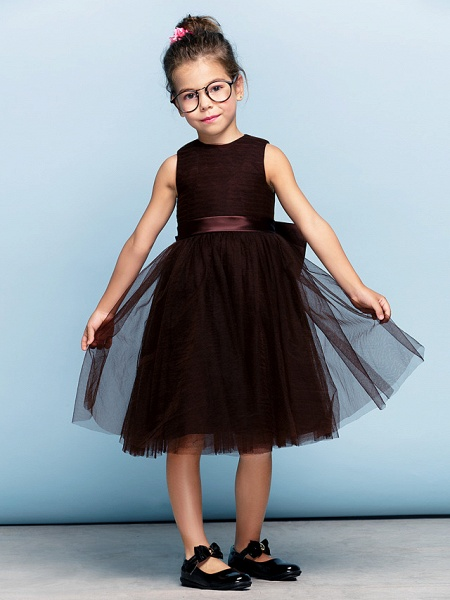 Princess Tea Length Party / Prom / Formal Evening Flower Girl Dresses - Tulle Short Sleeve Square Neck With Bow(S) / Ruched / Elegant_8