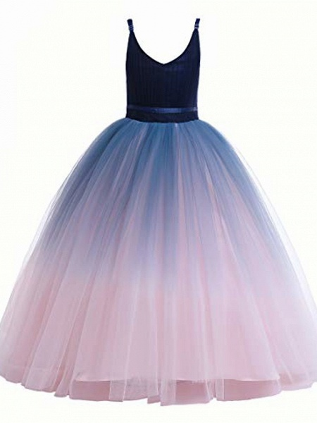 Girls Lace Bridesmaid Dress Long A Line Wedding Pageant Dresses Flower Girls Princess Ombre Tulle Party Gown Age 3-16Y &Amp; # 40; 3T - 4T, V-Navy Blue&Amp; Blush Pink&Amp;;_1