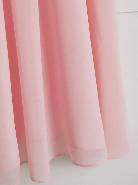 A-Line V Neck Floor Length Chiffon Junior Bridesmaid Dress With Ruffles / Ruching / Wedding Party_8