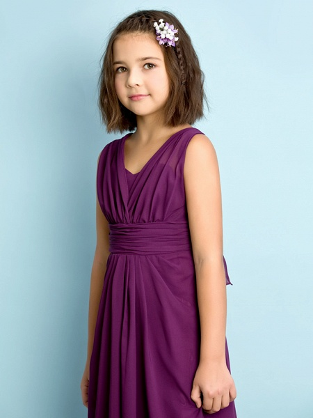 A-Line V Neck Floor Length Chiffon Junior Bridesmaid Dress With Criss Cross / Natural / Mini Me_6