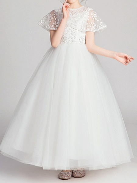 Ball Gown Ankle Length Pageant Flower Girl Dresses - Polyester Short Sleeve Jewel Neck With Appliques_3