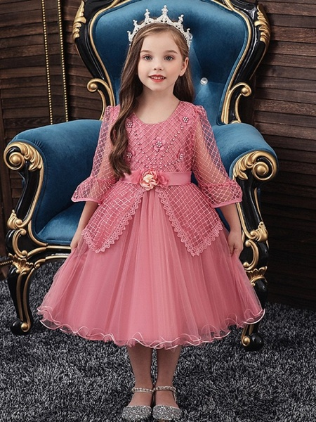 Princess / Ball Gown Knee Length Wedding / Party Flower Girl Dresses - Tulle Long Sleeve Jewel Neck With Sash / Ribbon / Bow(S) / Beading_1