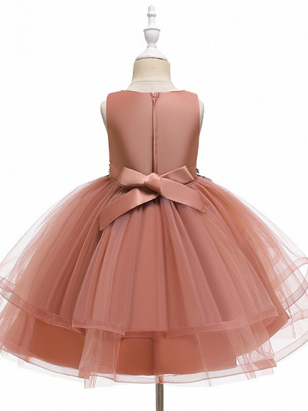 A-Line Knee Length Wedding / Party / Pageant Flower Girl Dresses - Tulle / Matte Satin / Poly&Cotton Blend Sleeveless Jewel Neck With Beading / Solid_12