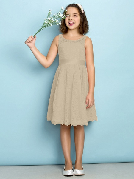 A-Line Scoop Neck Knee Length All Over Floral Lace Junior Bridesmaid Dress With Lace / Natural / Mini Me_20