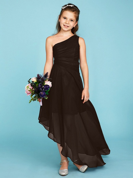 A-Line One Shoulder Asymmetrical Chiffon Junior Bridesmaid Dress With Side Draping / Wedding Party_34
