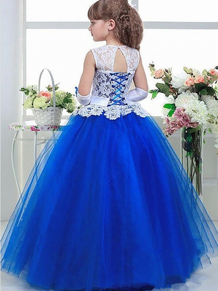 Ball Gown Floor Length Wedding / Party Flower Girl Dresses - Lace / Satin / Taffeta Sleeveless Jewel Neck With Tier / Appliques_2