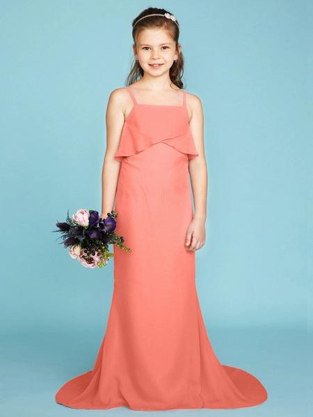 Sheath / Column Spaghetti Strap Sweep / Brush Train Chiffon Junior Bridesmaid Dress With Tiered / Wedding Party / Open Back_31