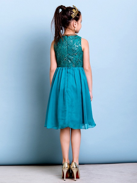 A-Line Jewel Neck Knee Length Chiffon / Sequined Junior Bridesmaid Dress With Sequin_7
