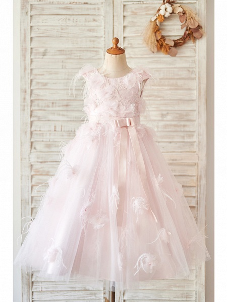 Ball Gown Tea Length Wedding / Birthday Flower Girl Dresses - Satin / Tulle Sleeveless Jewel Neck With Feathers / Fur / Lace / Belt_1