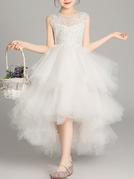 A-Line Asymmetrical Pageant Flower Girl Dresses - Tulle Sleeveless Jewel Neck With Tier / Appliques / Crystals / Rhinestones_1