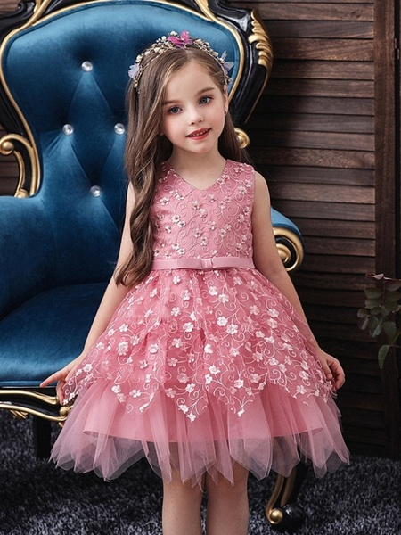 Princess / Ball Gown Mini Wedding / Party Flower Girl Dresses - Tulle Sleeveless V Neck With Sash / Ribbon / Bow(S) / Appliques_1