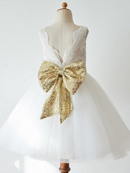 Ball Gown Knee Length Wedding / First Communion / Pageant Flower Girl Dresses - Lace / Tulle Sleeveless Jewel Neck With Bow(S)_1