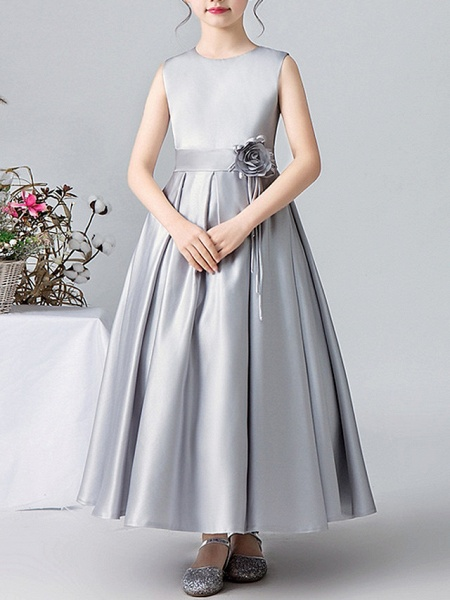 A-Line Round Ankle Length Satin Junior Bridesmaid Dress With Pleats / Appliques_1