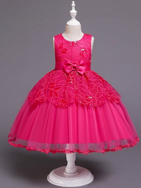 Princess / Ball Gown Floor Length Wedding / Party Flower Girl Dresses - Tulle Sleeveless Jewel Neck With Sash / Ribbon / Bow(S)_3