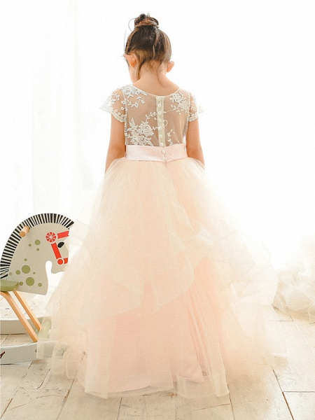 Ball Gown Floor Length Wedding / Birthday / Pageant Flower Girl Dresses - Lace / Tulle Short Sleeve Jewel Neck With Belt / Buttons_2