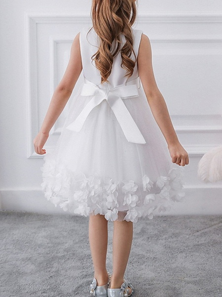 Princess / Ball Gown Knee Length Wedding / Party Flower Girl Dresses - Tulle / Satin Chiffon Sleeveless Jewel Neck With Bow(S) / Beading / Appliques_2