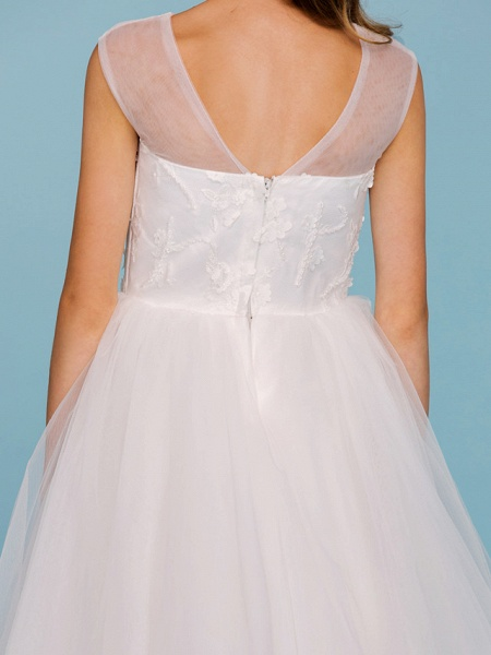 Ball Gown Crew Neck Asymmetrical Tulle Junior Bridesmaid Dress With Beading / Wedding Party / Open Back_9
