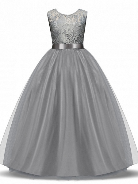 Princess Long Length Wedding / First Communion Flower Girl Dresses - Lace / Tulle Sleeveless Jewel Neck With Lace / Bow(S) / Embroidery_4