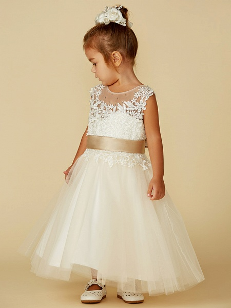 Ball Gown Ankle Length / Knee Length Wedding / Party / Pageant Flower Girl Dresses - Lace / Tulle Sleeveless Jewel Neck With Belt / Buttons / Beading_5
