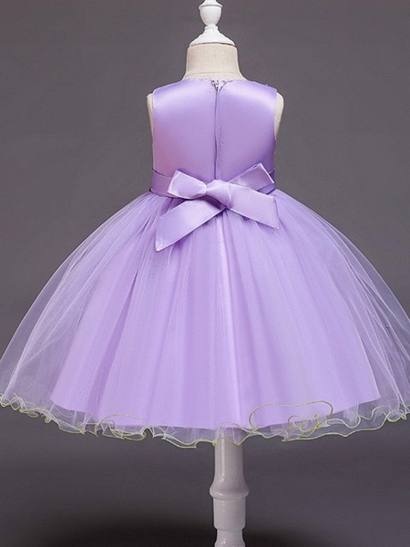 Ball Gown Knee Length Wedding / Party Flower Girl Dresses - Tulle Sleeveless Jewel Neck With Bow(S) / Beading / Appliques_6