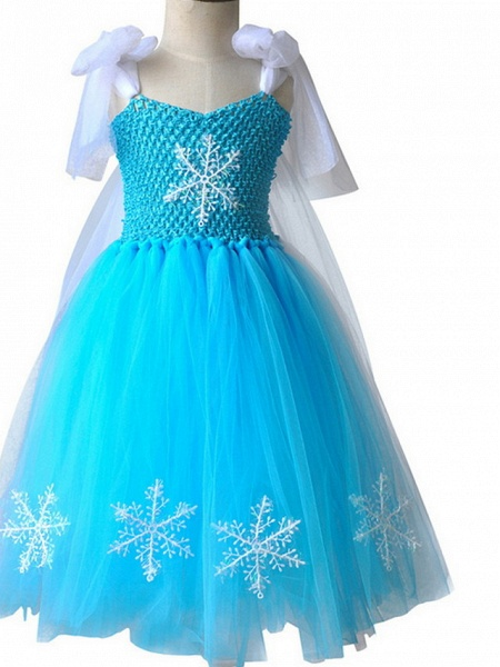 Princess Maxi Pageant Flower Girl Dresses - Polyester Sleeveless Jewel Neck With Bow(S) / Color Block_4