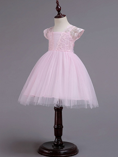 Princess Knee Length Wedding / Party / Pageant Flower Girl Dresses - Lace / Tulle / Cotton Cap Sleeve Square Neck With Lace / Belt_2