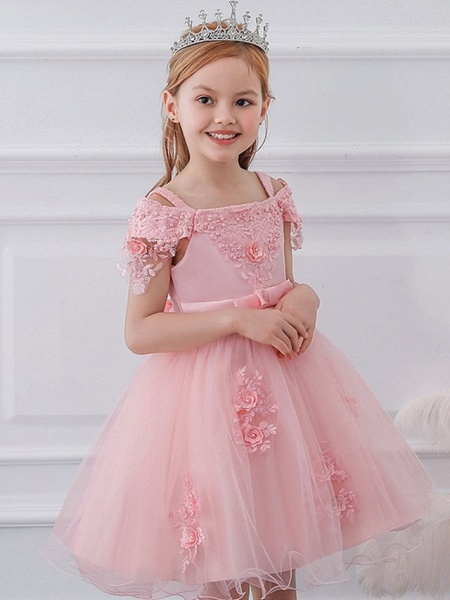 Princess / Ball Gown Knee Length Wedding / Party Flower Girl Dresses - Satin / Tulle Short Sleeve Off Shoulder With Sash / Ribbon / Bow(S) / Appliques_3