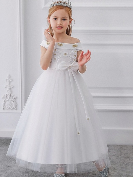 Princess / Ball Gown Floor Length Wedding / Party Flower Girl Dresses - Tulle Short Sleeve Off Shoulder With Sash / Ribbon / Bow(S) / Appliques_2