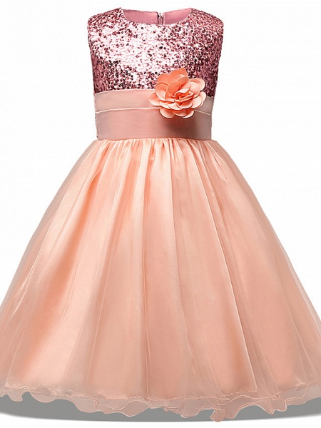 Princess Midi Wedding / Party / Pageant Flower Girl Dresses - Tulle Sleeveless Jewel Neck With Belt / Bow(S) / Appliques_1