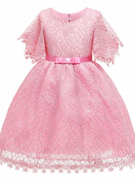 Ball Gown Knee Length Pageant Flower Girl Dresses - Polyester Short Sleeve Jewel Neck With Bow(S)_1