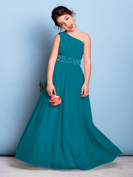 A-Line One Shoulder Floor Length Chiffon Junior Bridesmaid Dress With Sash / Ribbon / Beading / Side Draping / Natural_27