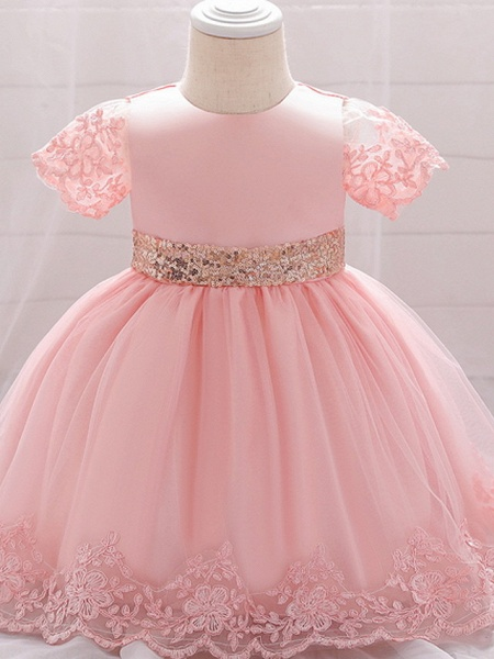 Ball Gown Floor Length Wedding / Party Christening Gowns - Lace / Satin / Tulle Sleeveless Jewel Neck With Bow(S) / Paillette_4