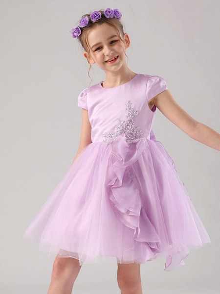 Princess / Ball Gown Medium Length Wedding / Event / Party Flower Girl Dresses - Satin / Tulle Cap Sleeve Jewel Neck With Embroidery / Appliques / Side Draping_3