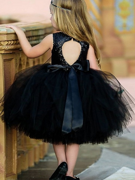 Ball Gown Midi Pageant Flower Girl Dresses - Organza Sleeveless Jewel Neck With Paillette_2