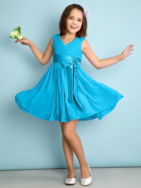 A-Line V Neck Knee Length Chiffon Junior Bridesmaid Dress With Bow(S) / Criss Cross / Natural_31