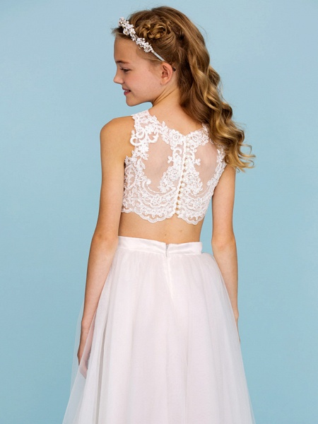 Princess / A-Line Bateau Neck Floor Length Lace / Tulle Junior Bridesmaid Dress With Pearls / Appliques / Beautiful Back / Wedding Party / See Through_7