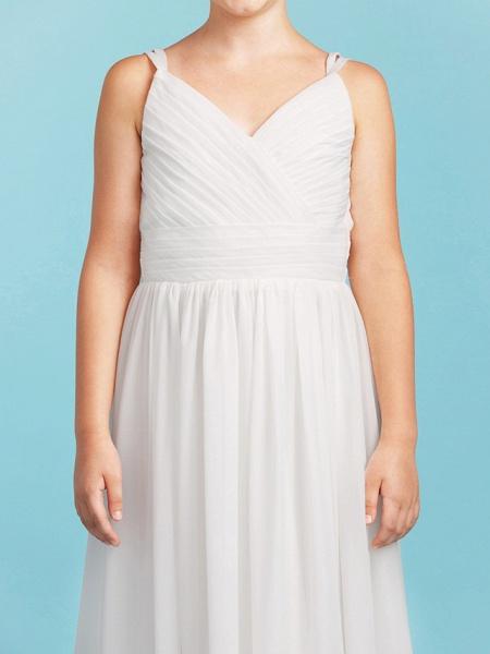 Princess / A-Line Spaghetti Strap Floor Length Chiffon Junior Bridesmaid Dress With Sash / Ribbon / Criss Cross / Wedding Party / Open Back_7