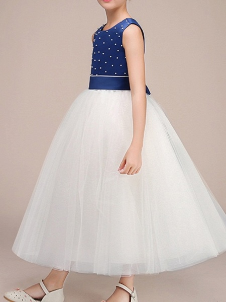Ball Gown Ankle Length Pageant Flower Girl Dresses - Polyester Sleeveless Jewel Neck With Bow(S)_2