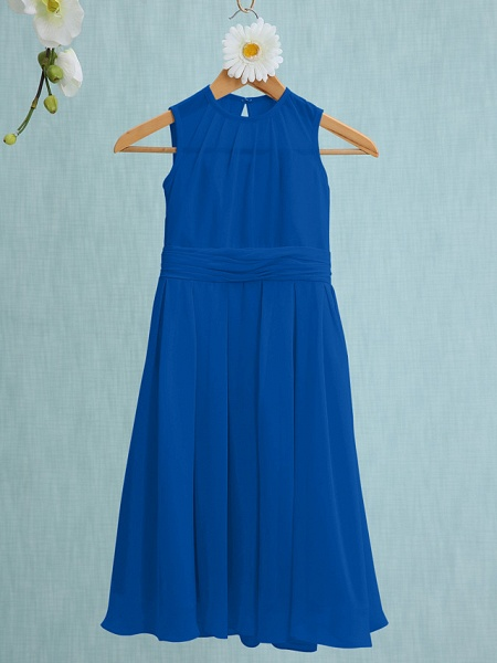 Sheath / Column Jewel Neck Knee Length Chiffon Junior Bridesmaid Dress With Ruched / Natural_32