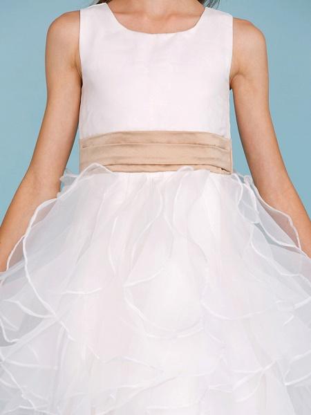 Princess / A-Line Jewel Neck Ankle Length Organza / Satin Junior Bridesmaid Dress With Sash / Ribbon / Cascading Ruffles / Wedding Party_8
