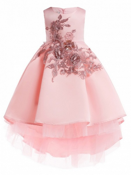 Ball Gown Ankle Length Pageant Flower Girl Dresses - Polyester Sleeveless Jewel Neck With Appliques_1